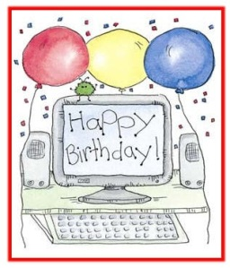 Happy Birthday, computer screen with balloons.