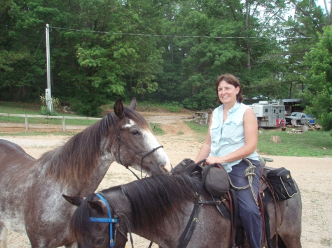 Mrs. Conlon and horses
