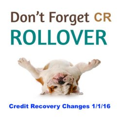Don't forget CR Rollover 1/1/2016